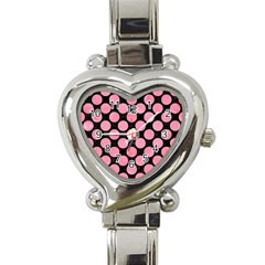 Circles2 Black Marble & Pink Watercolor (r) Heart Italian Charm Watch by trendistuff