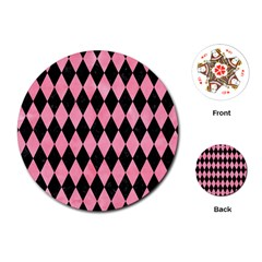 Diamond1 Black Marble & Pink Watercolor Playing Cards (round)  by trendistuff