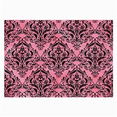 Damask1 Black Marble & Pink Watercolor Large Glasses Cloth (2 Side) by trendistuff