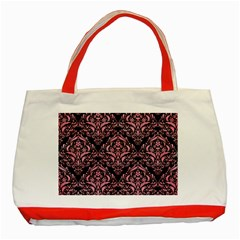 Damask1 Black Marble & Pink Watercolor (r) Classic Tote Bag (red) by trendistuff
