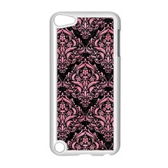 Damask1 Black Marble & Pink Watercolor (r) Apple Ipod Touch 5 Case (white) by trendistuff