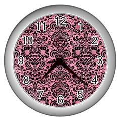 Damask2 Black Marble & Pink Watercolor Wall Clocks (silver)  by trendistuff