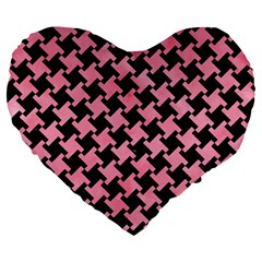 Houndstooth2 Black Marble & Pink Watercolor Large 19  Premium Heart Shape Cushions by trendistuff