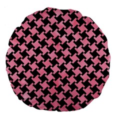 Houndstooth2 Black Marble & Pink Watercolor Large 18  Premium Flano Round Cushions by trendistuff