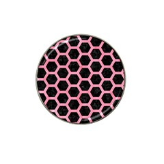 Hexagon2 Black Marble & Pink Watercolor (r) Hat Clip Ball Marker (10 Pack) by trendistuff