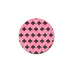 Royal1 Black Marble & Pink Watercolor (r) Golf Ball Marker by trendistuff