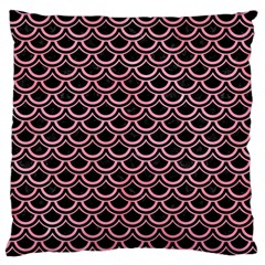 Scales2 Black Marble & Pink Watercolor (r) Large Cushion Case (one Side) by trendistuff