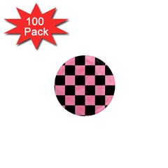 Square1 Black Marble & Pink Watercolor 1  Mini Magnets (100 Pack)  by trendistuff