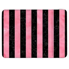 Stripes1 Black Marble & Pink Watercolor Samsung Galaxy Tab 7  P1000 Flip Case by trendistuff