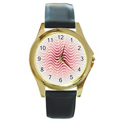 Art Abstract Art Abstract Round Gold Metal Watch by Onesevenart