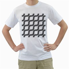 Diagonal Pattern Background Black And White Men s T Shirt (white) (two Sided) by Onesevenart