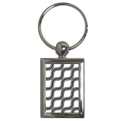 Diagonal Pattern Background Black And White Key Chains (rectangle)  by Onesevenart