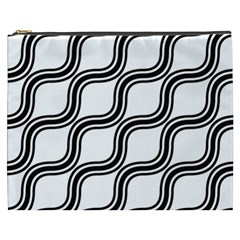 Diagonal Pattern Background Black And White Cosmetic Bag (xxxl)  by Onesevenart