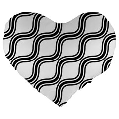 Diagonal Pattern Background Black And White Large 19  Premium Heart Shape Cushions by Onesevenart