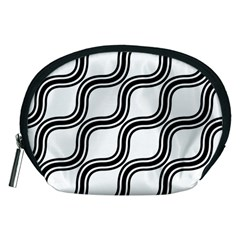Diagonal Pattern Background Black And White Accessory Pouches (medium)  by Onesevenart