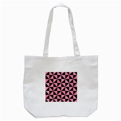 Triangle1 Black Marble & Pink Watercolor Tote Bag (white) by trendistuff