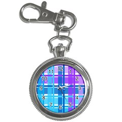 Gingham Pattern Blue Purple Shades Key Chain Watches by Onesevenart
