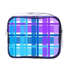 Gingham Pattern Blue Purple Shades Mini Toiletries Bags by Onesevenart