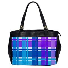 Gingham Pattern Blue Purple Shades Office Handbags by Onesevenart