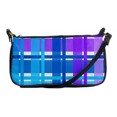Gingham Pattern Blue Purple Shades Shoulder Clutch Bags by Onesevenart