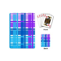 Gingham Pattern Blue Purple Shades Playing Cards (mini)  by Onesevenart