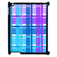 Gingham Pattern Blue Purple Shades Apple Ipad 2 Case (black) by Onesevenart