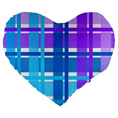 Gingham Pattern Blue Purple Shades Large 19  Premium Heart Shape Cushions by Onesevenart