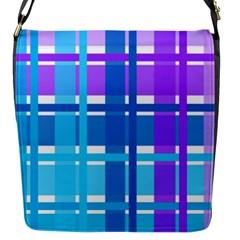 Gingham Pattern Blue Purple Shades Flap Messenger Bag (s) by Onesevenart
