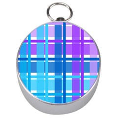 Gingham Pattern Blue Purple Shades Silver Compasses by Onesevenart