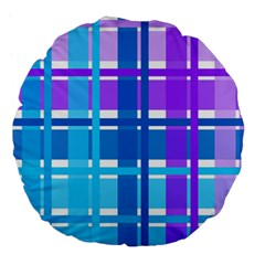 Gingham Pattern Blue Purple Shades Large 18  Premium Flano Round Cushions by Onesevenart