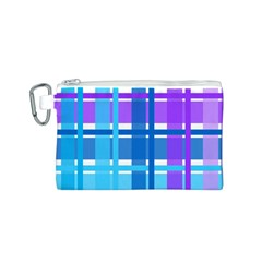 Gingham Pattern Blue Purple Shades Canvas Cosmetic Bag (s) by Onesevenart
