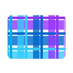 Gingham Pattern Blue Purple Shades Double Sided Flano Blanket (mini)  by Onesevenart