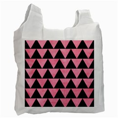 Triangle2 Black Marble & Pink Watercolor Recycle Bag (one Side) by trendistuff