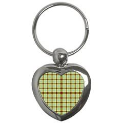 Geometric Tartan Pattern Square Key Chains (heart)  by Onesevenart