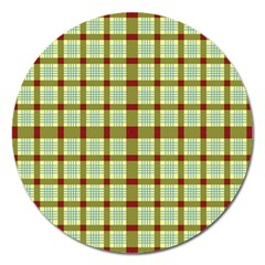 Geometric Tartan Pattern Square Magnet 5  (round) by Onesevenart