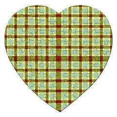 Geometric Tartan Pattern Square Jigsaw Puzzle (heart) by Onesevenart