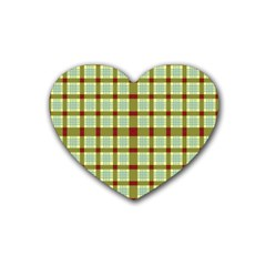 Geometric Tartan Pattern Square Rubber Coaster (heart)  by Onesevenart