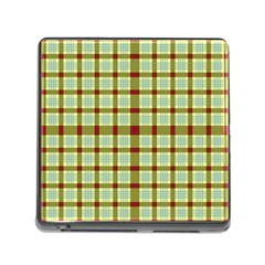 Geometric Tartan Pattern Square Memory Card Reader (square) by Onesevenart