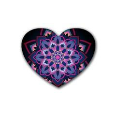 Mandala Circular Pattern Rubber Coaster (heart)  by Onesevenart