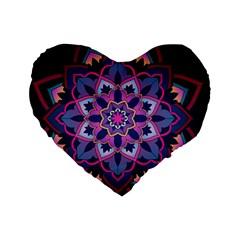 Mandala Circular Pattern Standard 16  Premium Heart Shape Cushions by Onesevenart