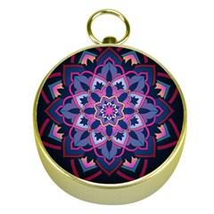 Mandala Circular Pattern Gold Compasses by Onesevenart