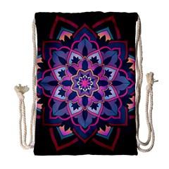 Mandala Circular Pattern Drawstring Bag (large) by Onesevenart
