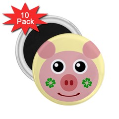 Luck Lucky Pig Pig Lucky Charm 2 25  Magnets (10 Pack)  by Onesevenart