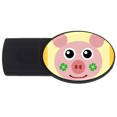 Luck Lucky Pig Pig Lucky Charm Usb Flash Drive Oval (2 Gb) by Onesevenart