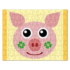 Luck Lucky Pig Pig Lucky Charm Rectangular Jigsaw Puzzl by Onesevenart