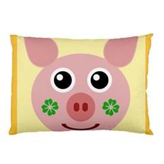 Luck Lucky Pig Pig Lucky Charm Pillow Case by Onesevenart