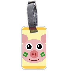 Luck Lucky Pig Pig Lucky Charm Luggage Tags (one Side)  by Onesevenart