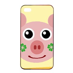 Luck Lucky Pig Pig Lucky Charm Apple Iphone 4/4s Seamless Case (black) by Onesevenart