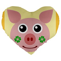 Luck Lucky Pig Pig Lucky Charm Large 19  Premium Heart Shape Cushions by Onesevenart
