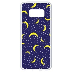 Moon Pattern Samsung Galaxy S8 White Seamless Case by Onesevenart